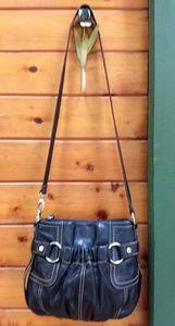 Tignanello Lg. Black Leather Shoulder Bag